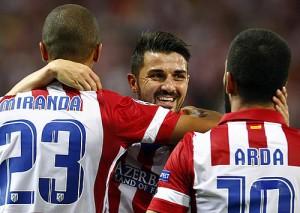 El Atleti celebra un tanto con Villa (Foto Atlético de Madrid)