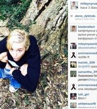 Miley Cyrus meando junto a un árbol