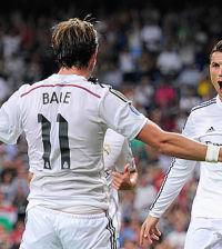 Bale y Ronaldo celebran un gol del Real Madrid (Foto UEFA)