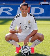 Chicharito en su presentación con el Real Madrid