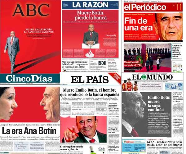 La muerte de Emilio Botín en las portadas de los periódicos