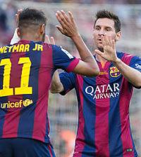 Neymar y Messi celebran un gol (Foto FCB)