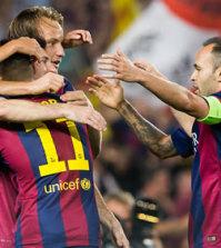 El Barça celebra un tanto (Foto FCB)