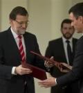 El presidente del Gobierno, Mariano Rajoy, y el líder del PSOE, Pedro Sánchez (Foto Moncloa)
