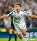 Chicharito celebra el gol del triunfo (Foto Real Madrid)
