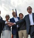 Candidatura Junts pel Sí con Artur Mas, Oriol Junqueras y Raúl Romeva (Foto CDC)