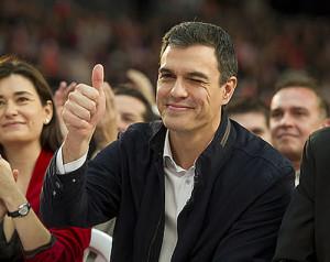 Pedro Sánchez sonriendo durante un mitin (Foto PSOE)