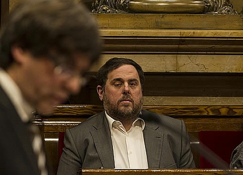 Carles Puigdemont con Oriol Junqueras (Foto Generalitat)