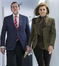 Mariano Rajoy y Cospedal, en Génova (Foto: PP)