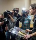 Pablo Iglesias ante la prensa en el Congreso (Foto: Podemos)