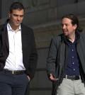 Reunión entre Pedro Sánchez y Pablo Iglesias (Foto: PSOE)