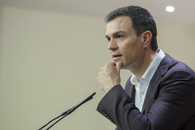 Pedro Sánchez en rueda de prensa (Foto: PSOE)